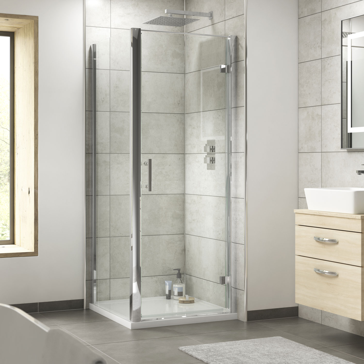 Premier Pacific Hinged Shower Enclosure 700mm x 700mm with Shower Tray - 6mm Glass-3