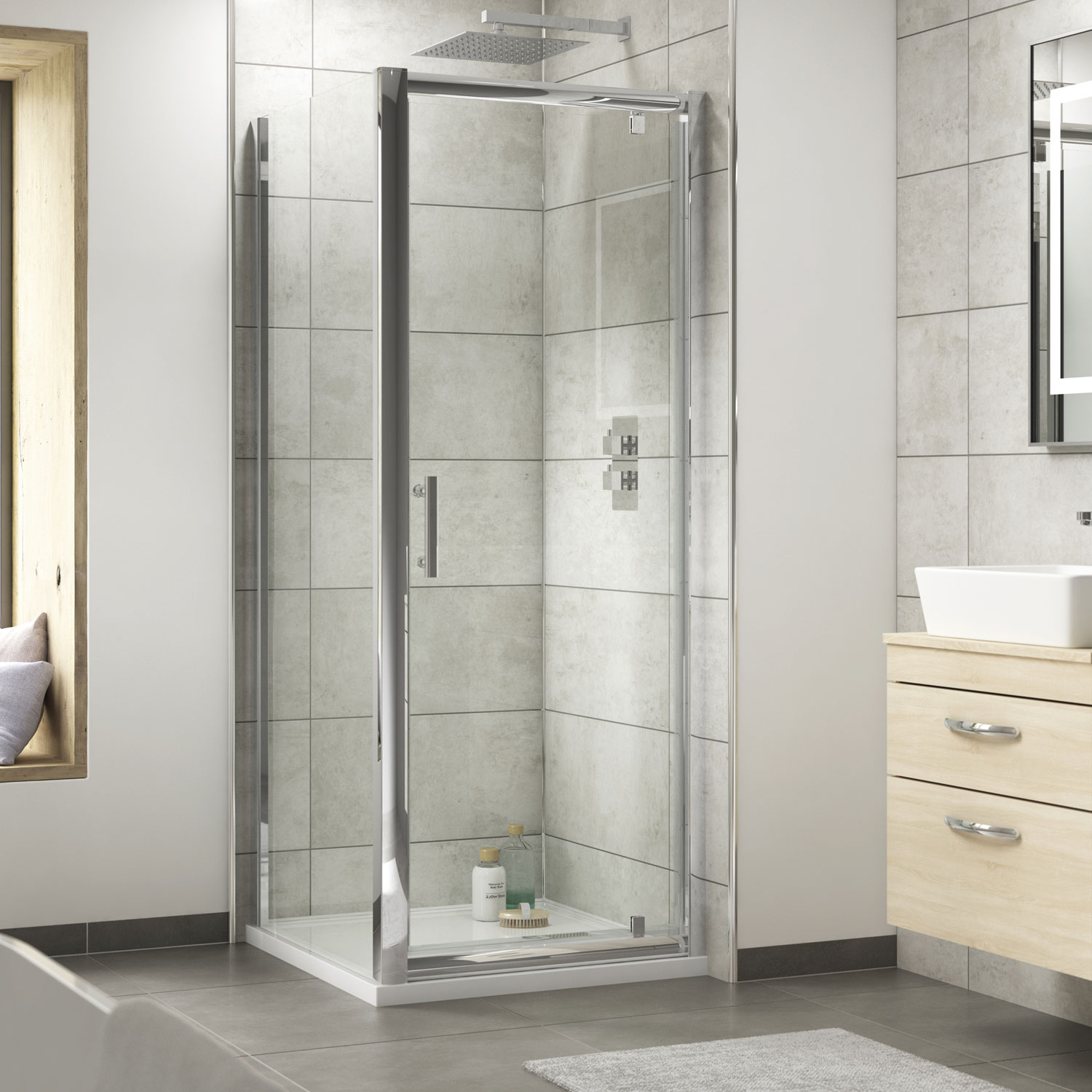 Premier Pacific Pivot Shower Enclosure 700mm x 700mm with Shower Tray - 6mm Glass-3