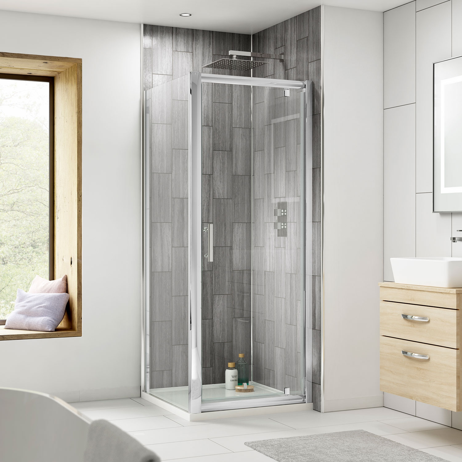 Premier Pacific Pivot Shower Enclosure 700mm x 700mm with Shower Tray - 6mm Glass-4