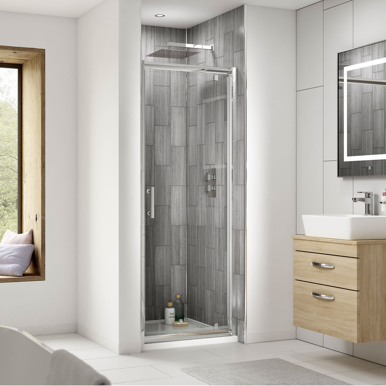 Premier Pacific Pivot Shower Enclosure 700mm x 700mm with Shower Tray - 6mm Glass-5