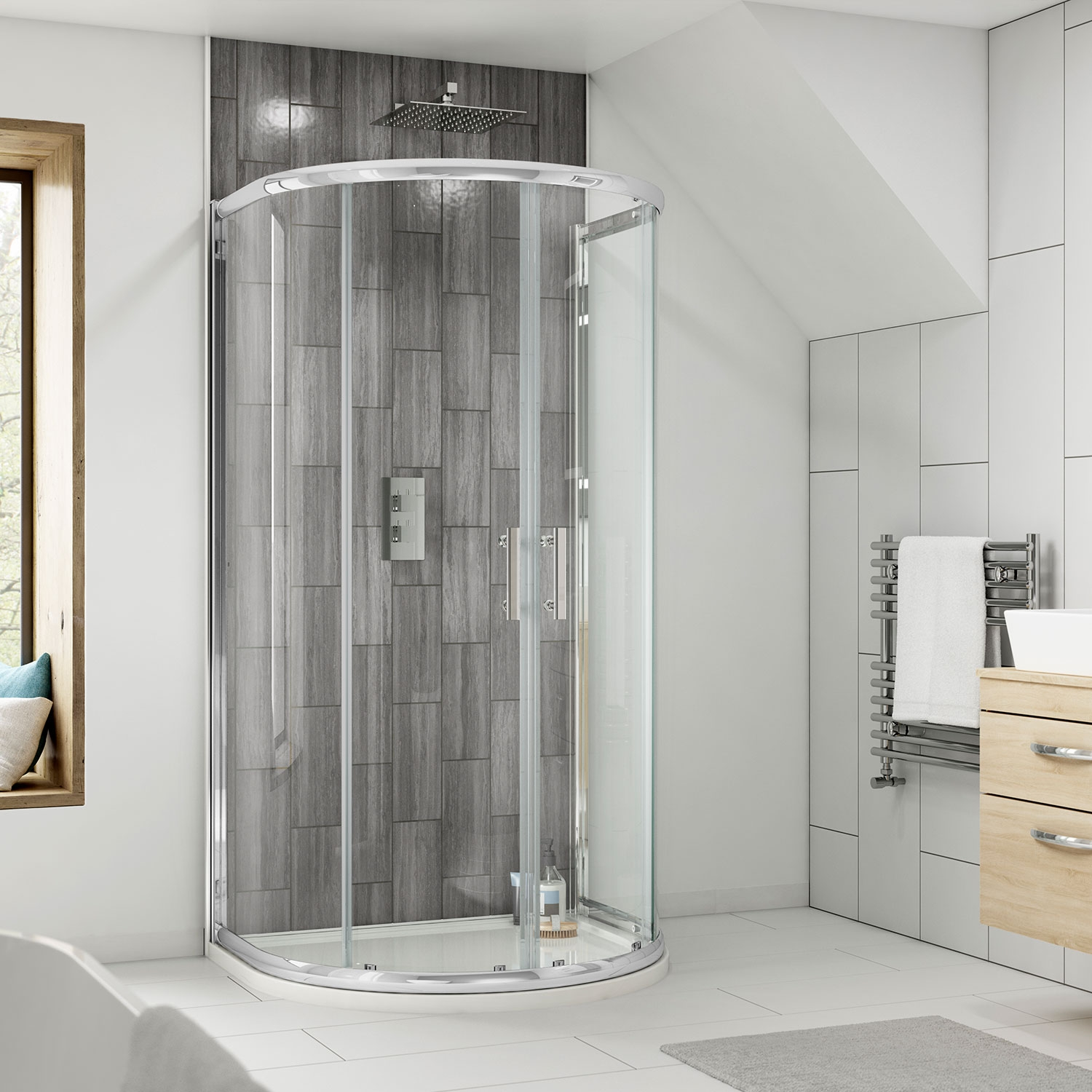 Premier Pacific D-Shape Shower Enclosure | 1050 x 900 | AQUD2