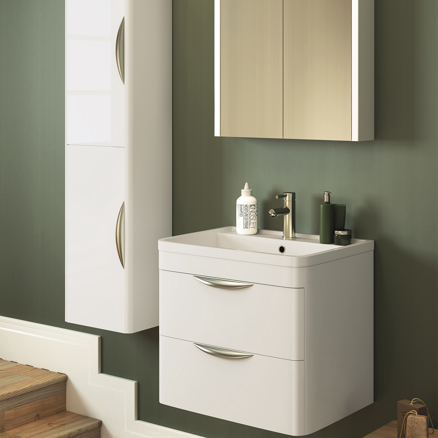 Premier Parade Wall Hung 2-Drawer Vanity Unit with Basin 600mm Wide - 1 Tap Hole-0