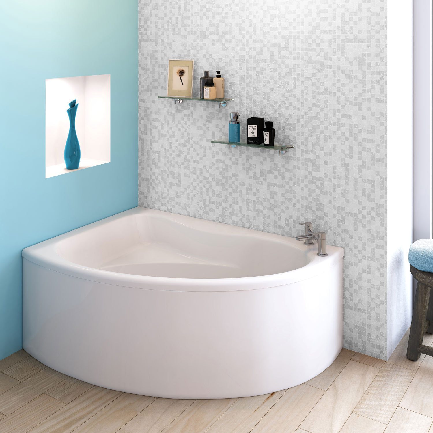 Premier Pilot Offset Corner Bath and Panel 1450mm x 950mm Left Handed