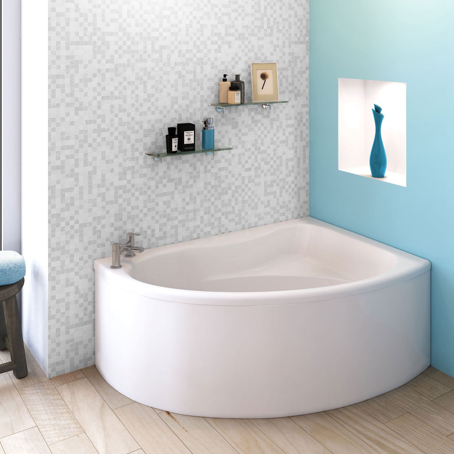 Premier Pilot Offset Corner Bath and Panel 1450mm x 950mm Right Handed