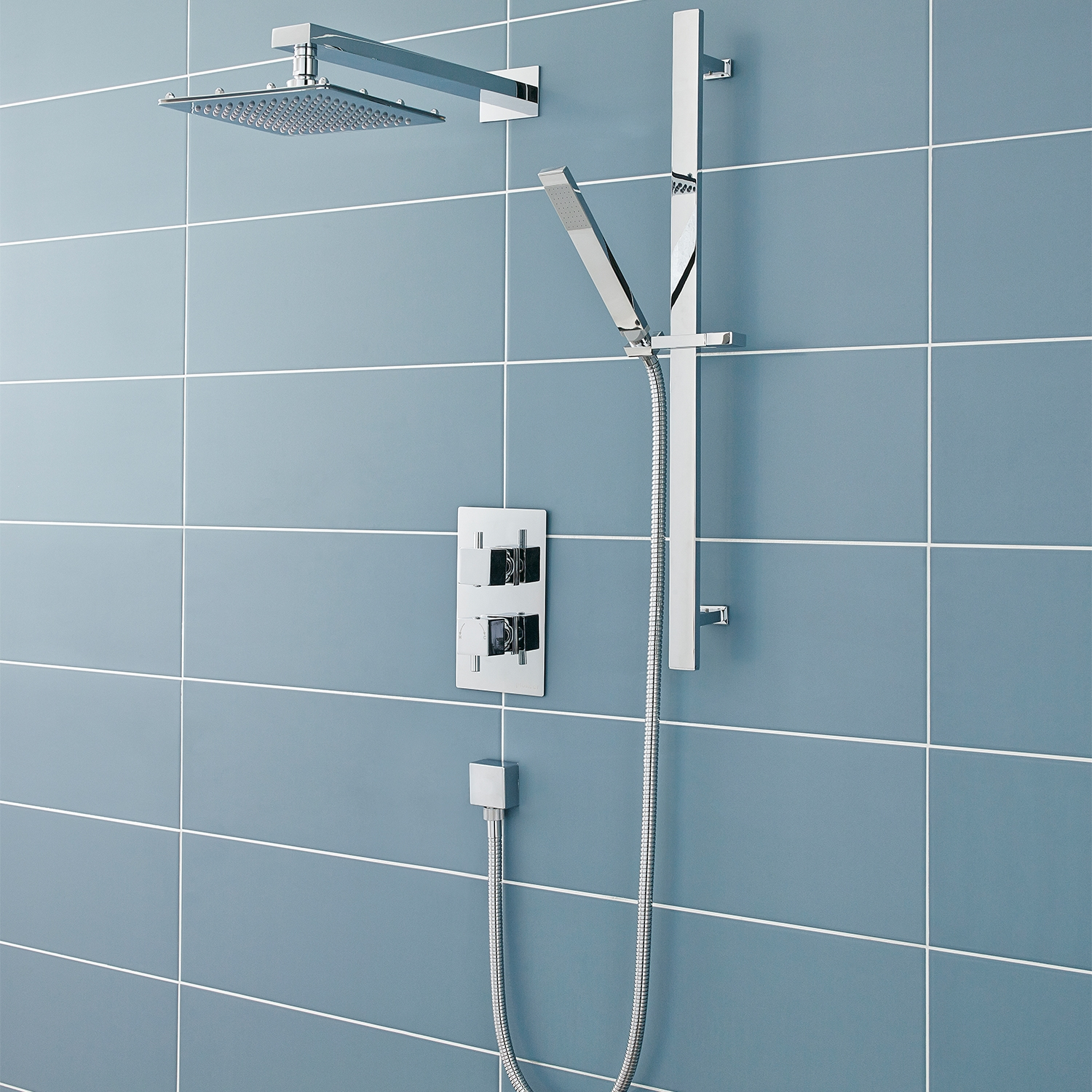 Premier Pioneer Square Shower Valve with Diverter Dual Handle - Chrome-0