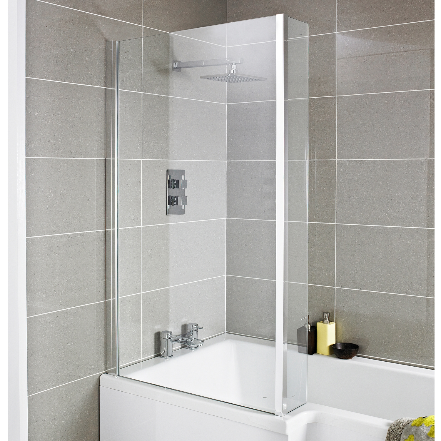 Premier Quattro Bath Screen with Panel, L-Shaped Shower Baths, 6mm Glass-0