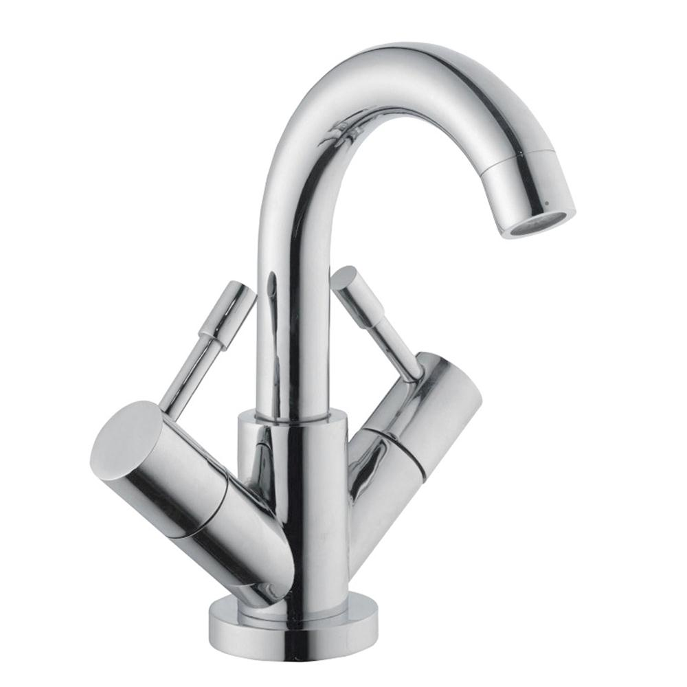 Premier Series 2 Swivel Spout Mono Basin Mixer Tap with Pop-Up Waste Dual Handle - Chrome-0