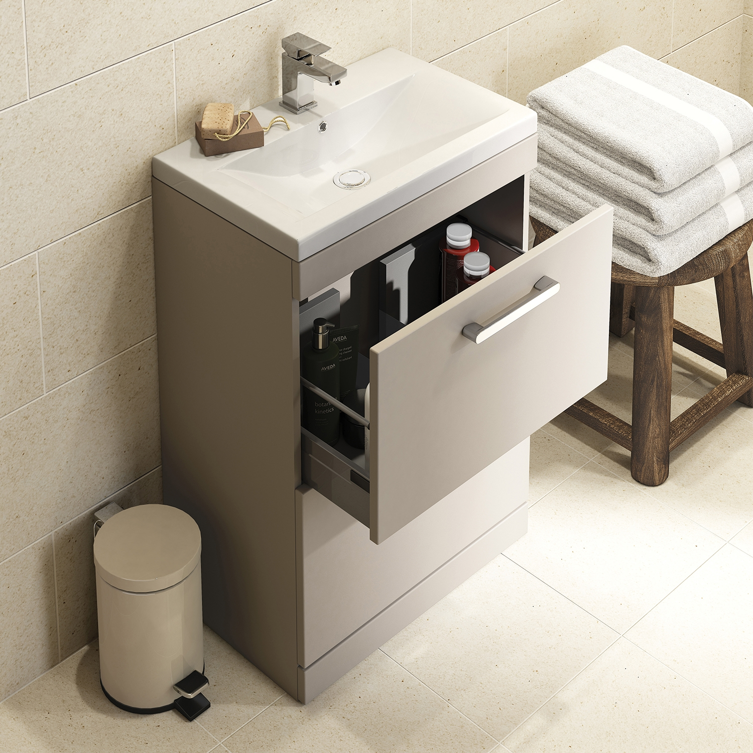 Premier Shipton Floor Standing 2-Drawer Vanity Unit with Basin 800mm Wide - Stone Grey 1 Tap Hole-0