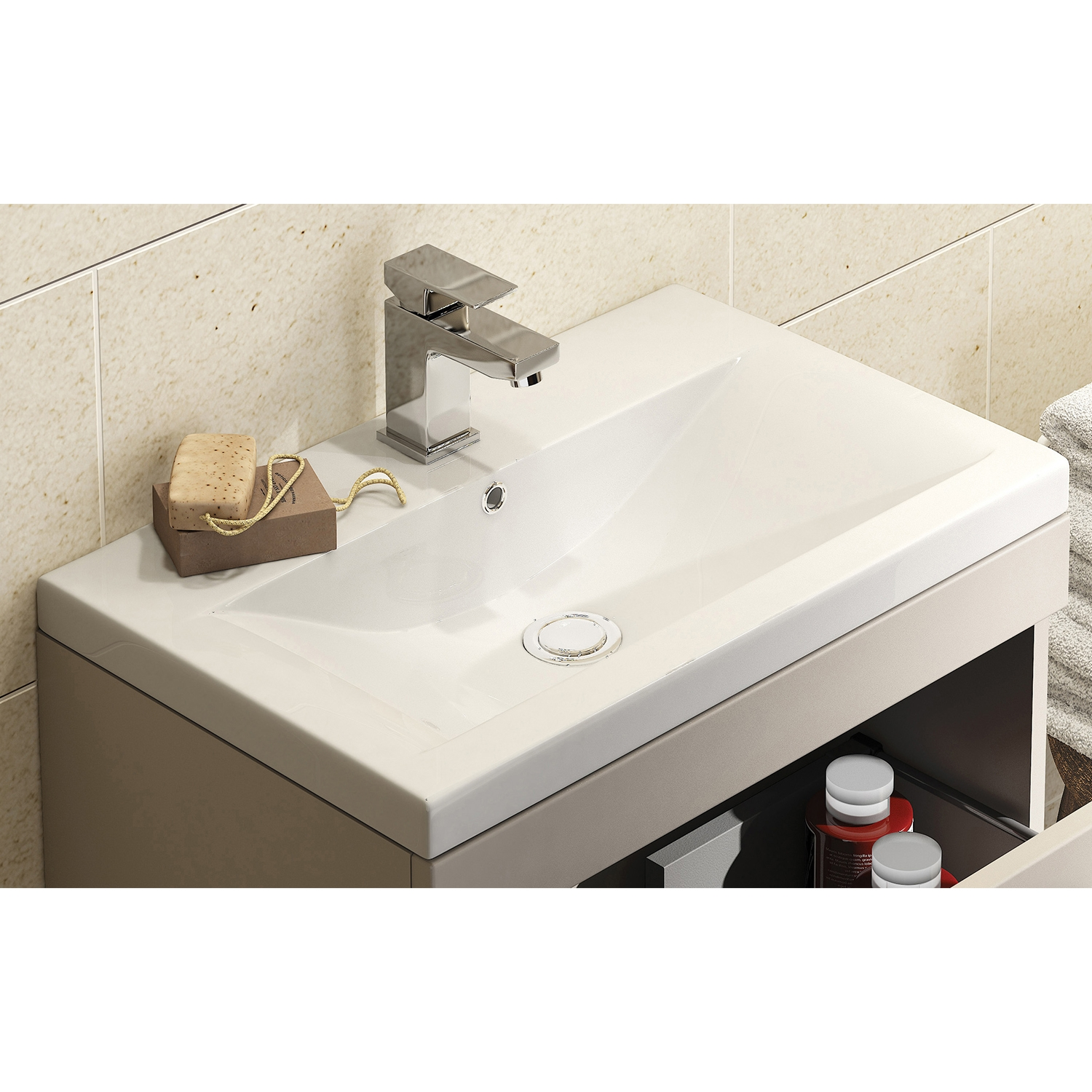 Premier Shipton Wall Hung 1-Drawer Vanity Unit with Basin 500mm Wide - Stone Grey 1 Tap Hole