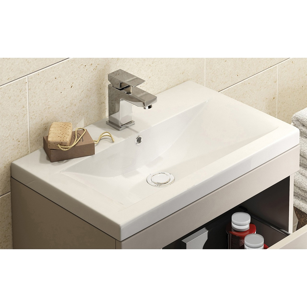 Premier Shipton Wall Hung 1-Drawer Vanity Unit with Basin 800mm Wide - Stone Grey 1 Tap Hole-0