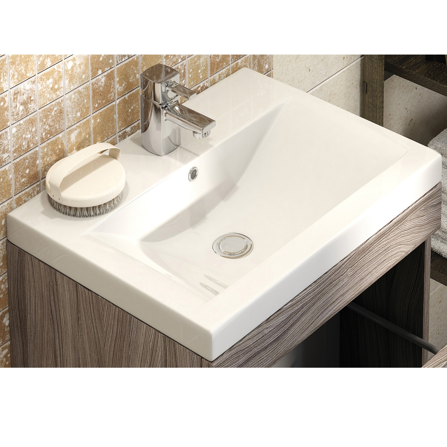 Premier Shipton Wall Hung Vanity Unit with Mid-Edged Basin 500mm Wide - Driftwood 1 Tap Hole