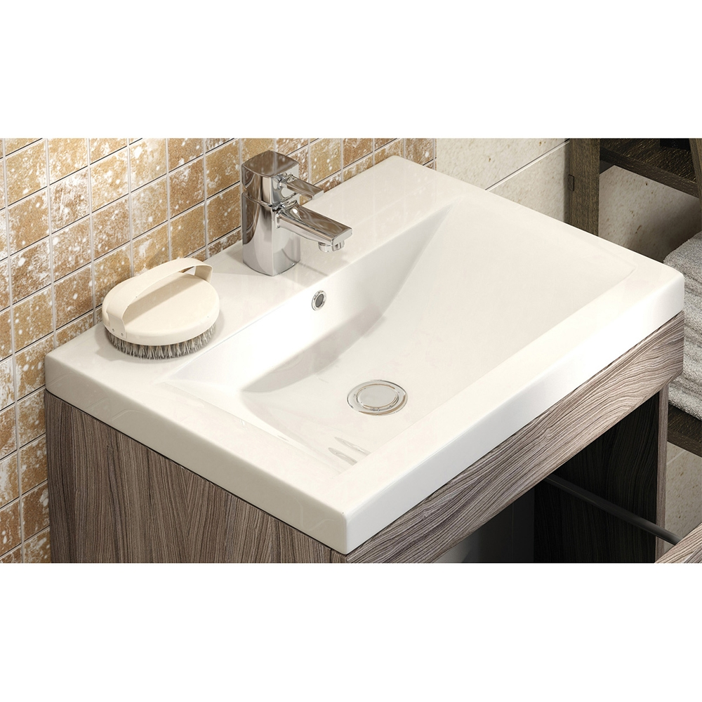 Premier Shipton Wall Hung Vanity Unit with Mid-Edged Basin 600mm Wide - Driftwood 1 Tap Hole-0