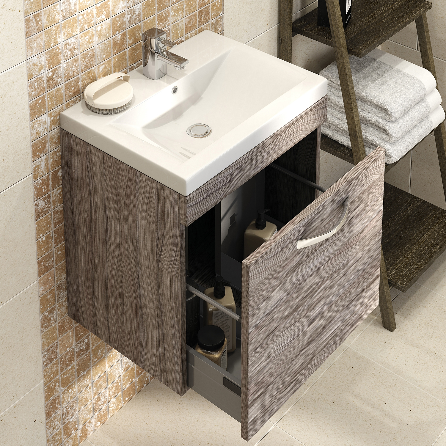 Premier Shipton Wall Hung 1-Drawer Vanity Unit with Basin 800mm Wide - Driftwood 1 Tap Hole-0