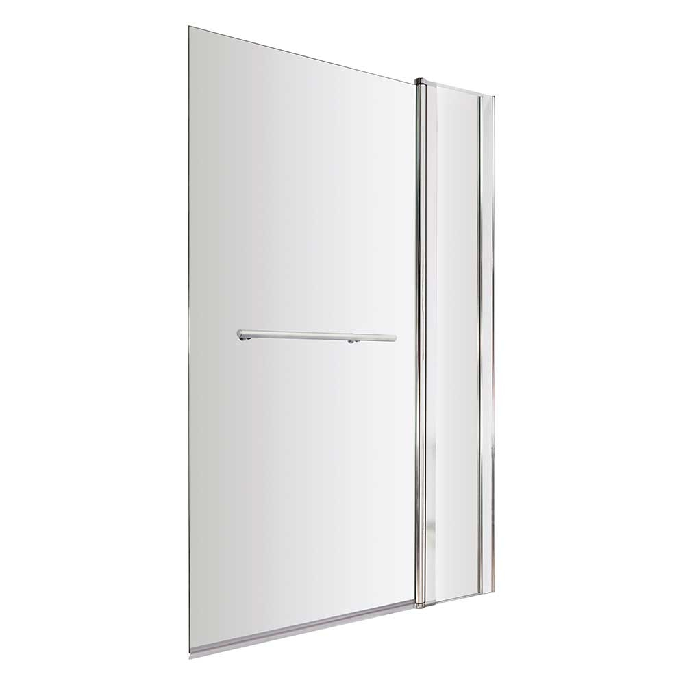 Premier Square Bath Screen with Panel and Rail, 1435mm High x 985-1005mm Wide, 6mm Glass-0