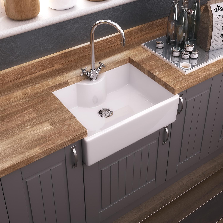 Premier Staffordshire Ceramic Kitchen Sink, 1.0 Bowl, White-1