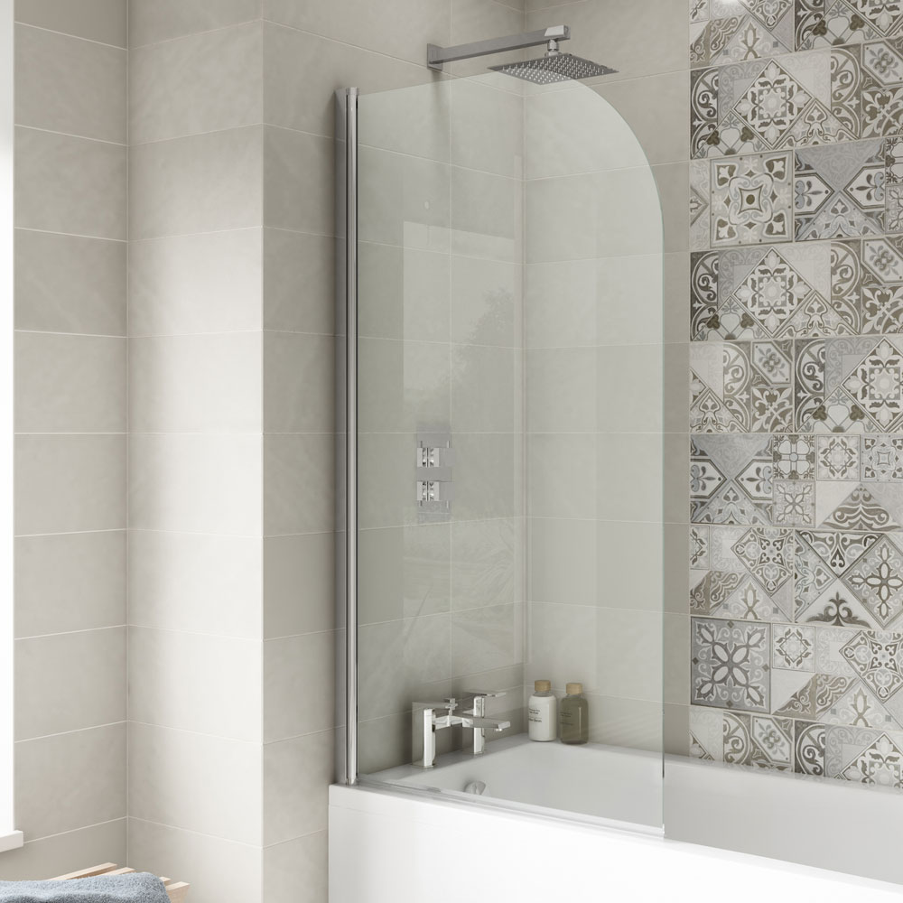 Premier Straight Bath Screen, 1435mm High x 755-775mm Wide, 6mm Glass-1