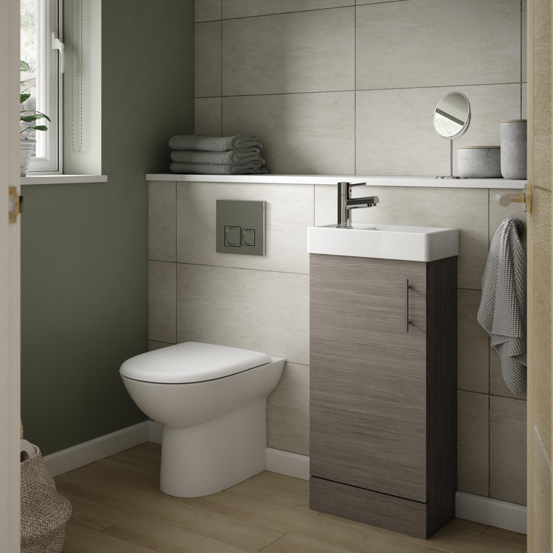 Premier Vault Floor Standing 1-Door Vanity Unit with Basin Brown Grey Avola - 400mm Wide