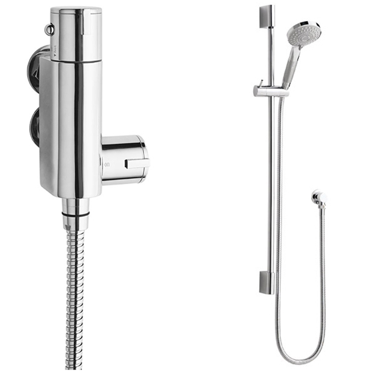 Premier Vertical Thermostatic Bar Shower Valve, Slider Shower Kit, Chrome