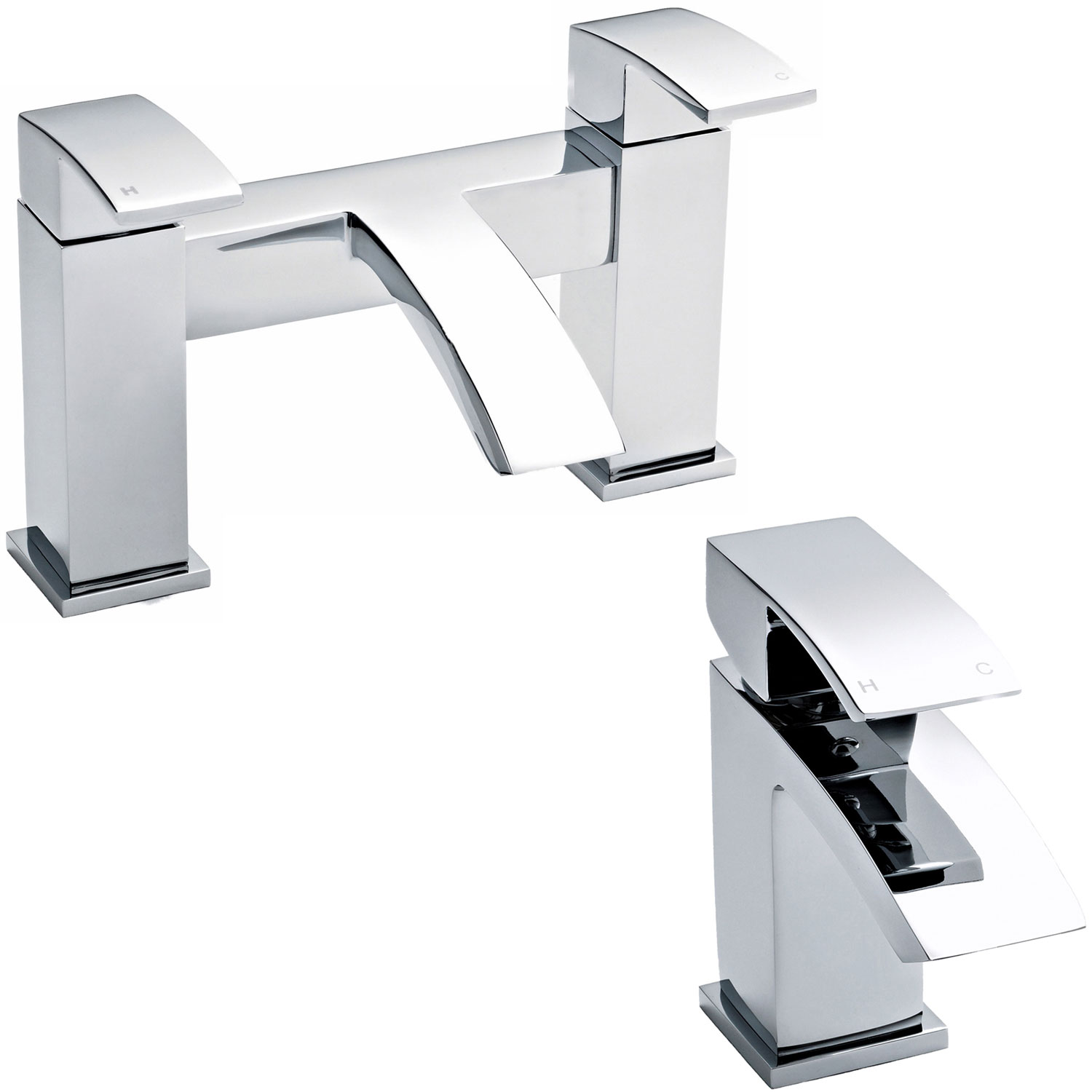 Premier Vibe Mono Basin Mixer Tap and Bath Filler Tap Pillar Mounted, Chrome