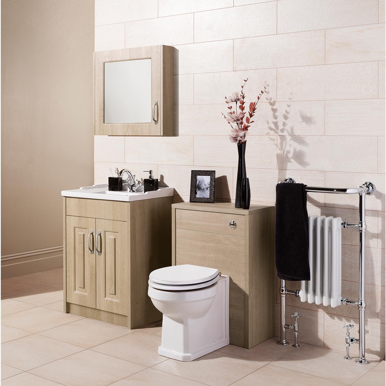 Premier York Floor Standing Vanity Unit with Basin 600mm Wide Gladstone Oak 1 Tap Hole-0