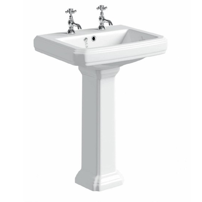 Prestige Astley Basin with Full Pedestal 600mm Wide 2 Tap Hole