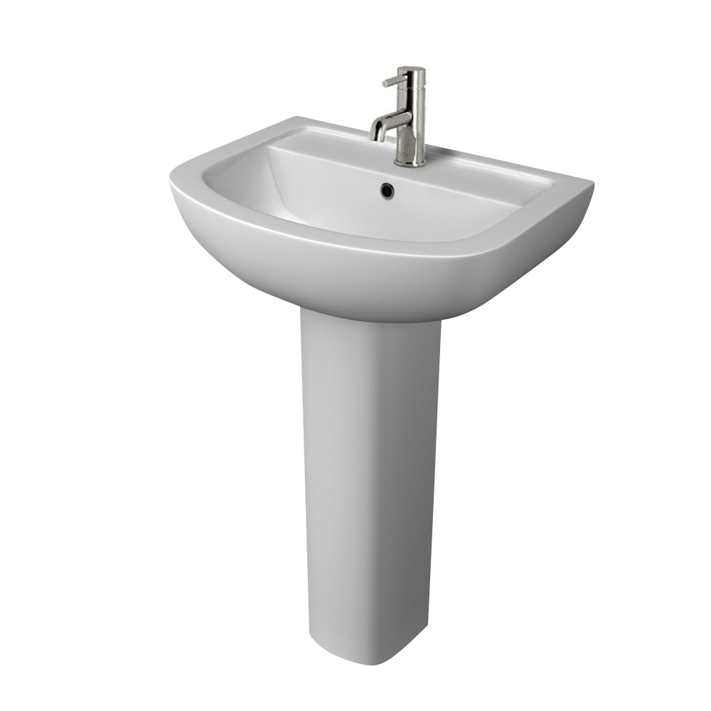 Prestige Chiron Basin with Full Pedestal 550mm Wide 1 Tap Hole