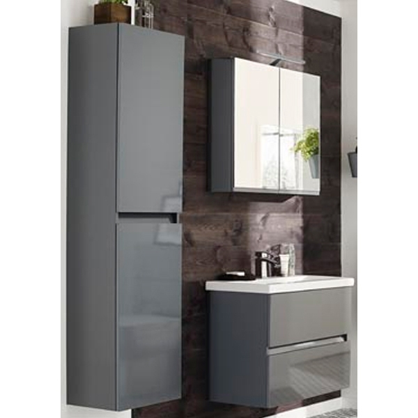Prestige Cruz Left Handed Wall Mounted Tall Storage Unit 400mm Wide Gloss Grey-0