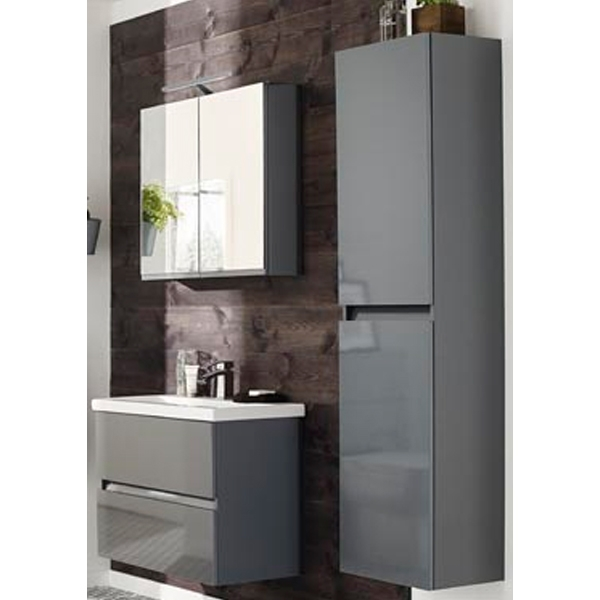 Prestige Cruz Right Handed Wall Mounted Tall Storage Unit 400mm Wide Gloss Grey