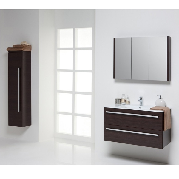 Prestige Elegance Wall Mounted Tall Boy Unit 1400mm High x 355mm Wide Chestnut-0