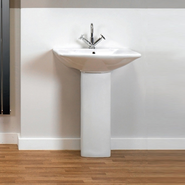 Prestige Eris Basin & Full Pedestal 610mm Wide 1 Tap Hole