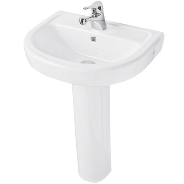 Prestige Felicite Basin with Full Pedestal 550mm Wide 1 Tap Hole