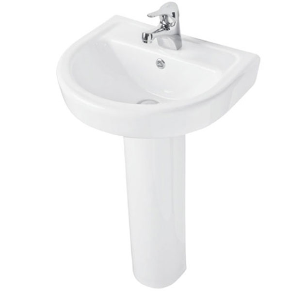 Prestige Felicite Basin with Full Pedestal 460mm Wide 1 Tap Hole