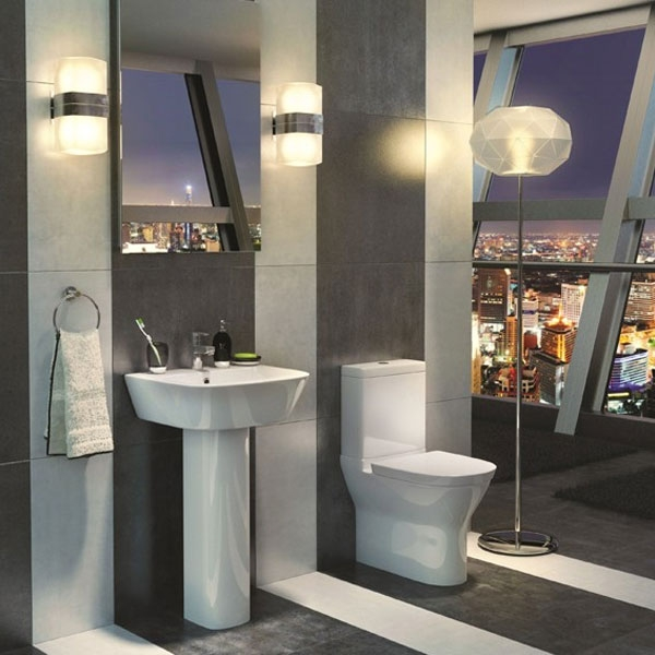Prestige Komodo Close Coupled Round Toilet Push Button Cistern Soft Close Seat
