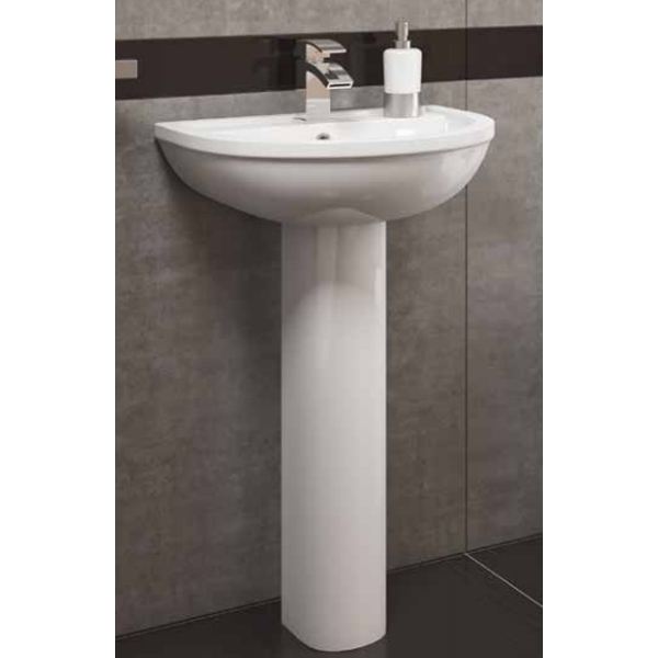 Prestige Lifestyle Basin with Full Pedestal 550mm Wide 1 Tap Hole