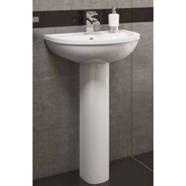 Prestige Lifestyle Basin with Full Pedestal 500mm Wide 1 Tap Hole-0