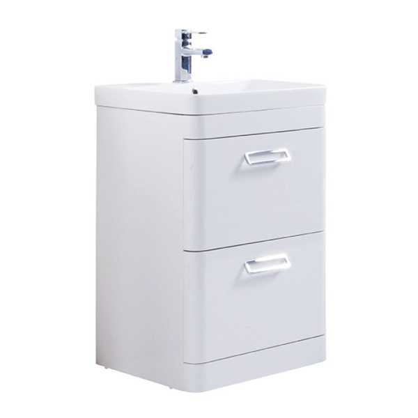 Prestige Marlow 2-Drawer Floor Standing Vanity Unit with Basin 500mm Wide White 1 Tap Hole
