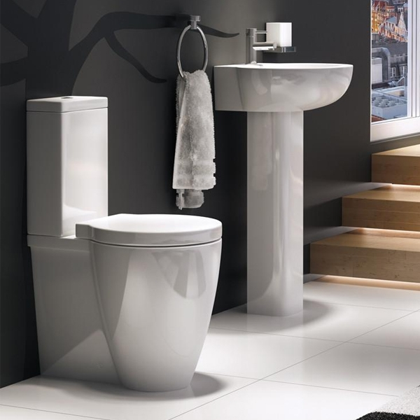 Prestige Milano Basin with Full Pedestal 550mm Wide 1 Tap Hole