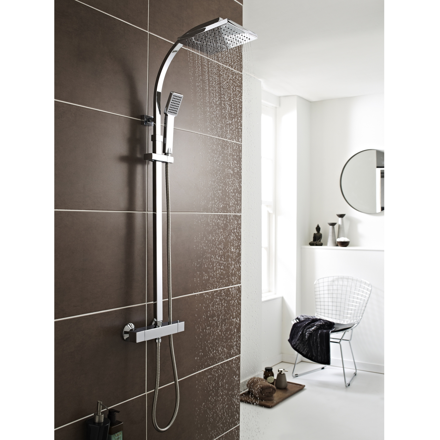 Prestige Pure Thermostatic Bar Shower with Shower Kit + Fixed Head