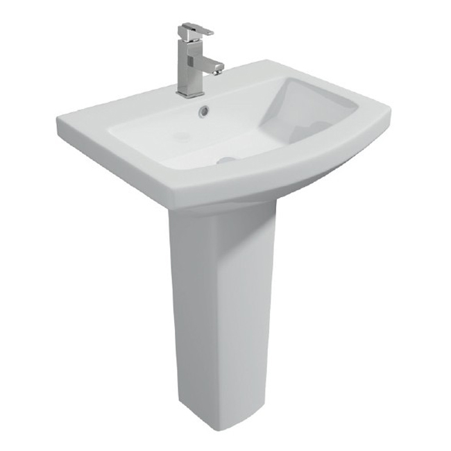 Prestige Trim Basin with Full Pedestal 550mm Wide 1 Tap Hole