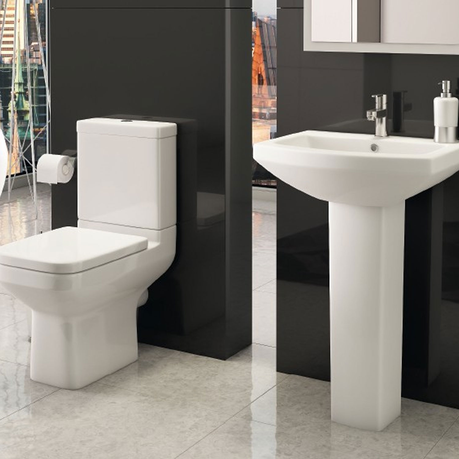 Prestige Trim Close Coupled Toilet WC with Cistern - Soft Close Seat