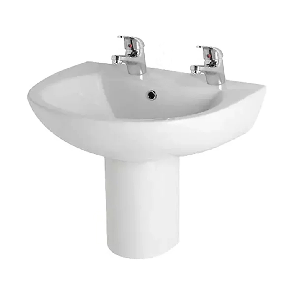 Prestige Uranus Basin & Semi Pedestal 545mm Wide 2 Tap Hole