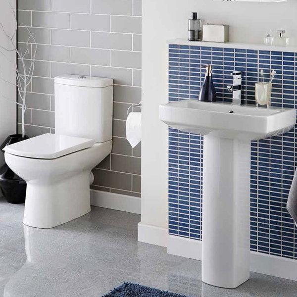 Prestige Vivanta Close Coupled Back to Wall Toilet Push Button Cistern Soft Close Seat