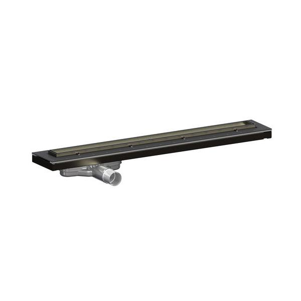 Purus Living Linear Low Wet Floor Drain, 600mm Wide, Stainless Steel Tile Grate