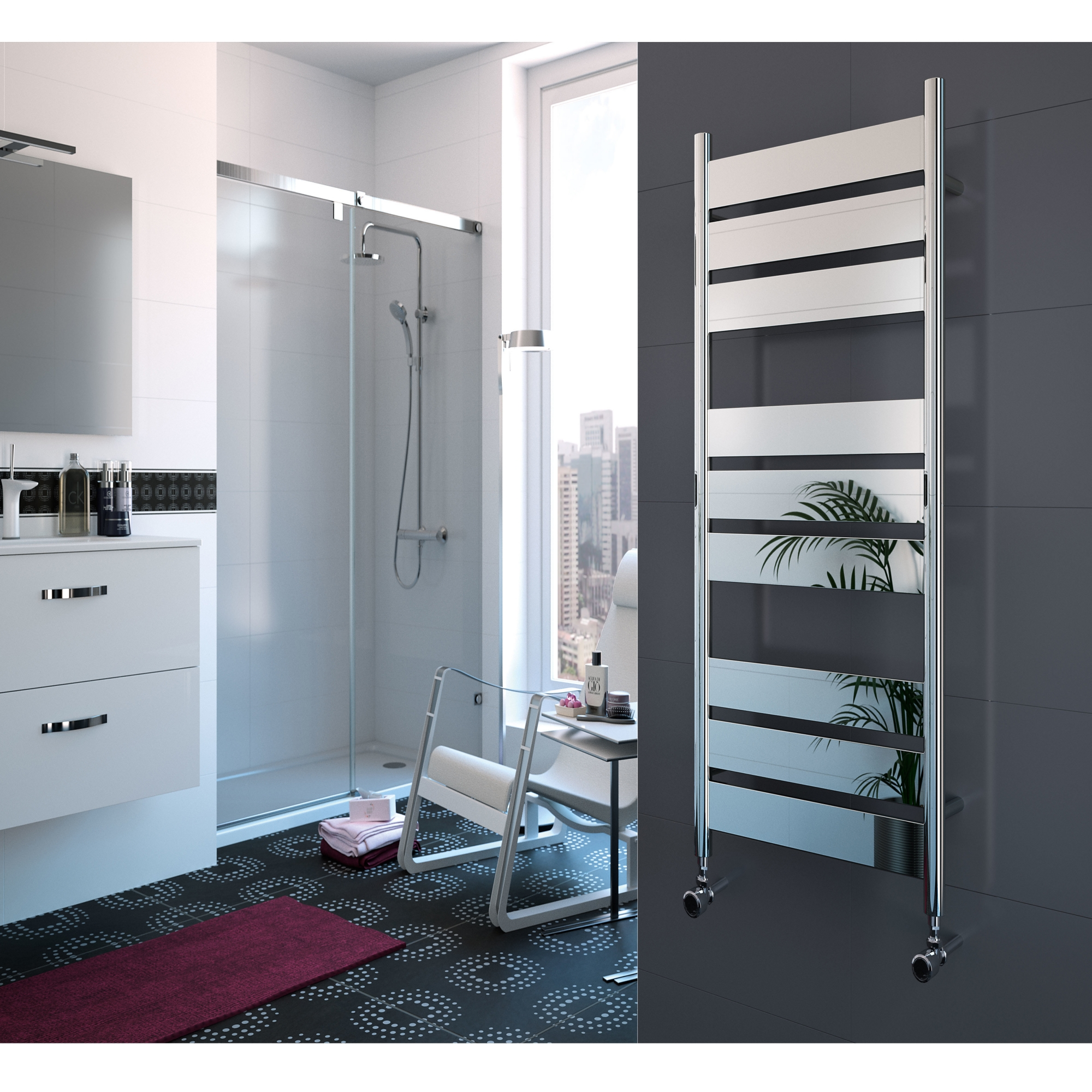 Radox Apollo Designer Heated Towel Rail 1400mm H x 500mm W Chrome