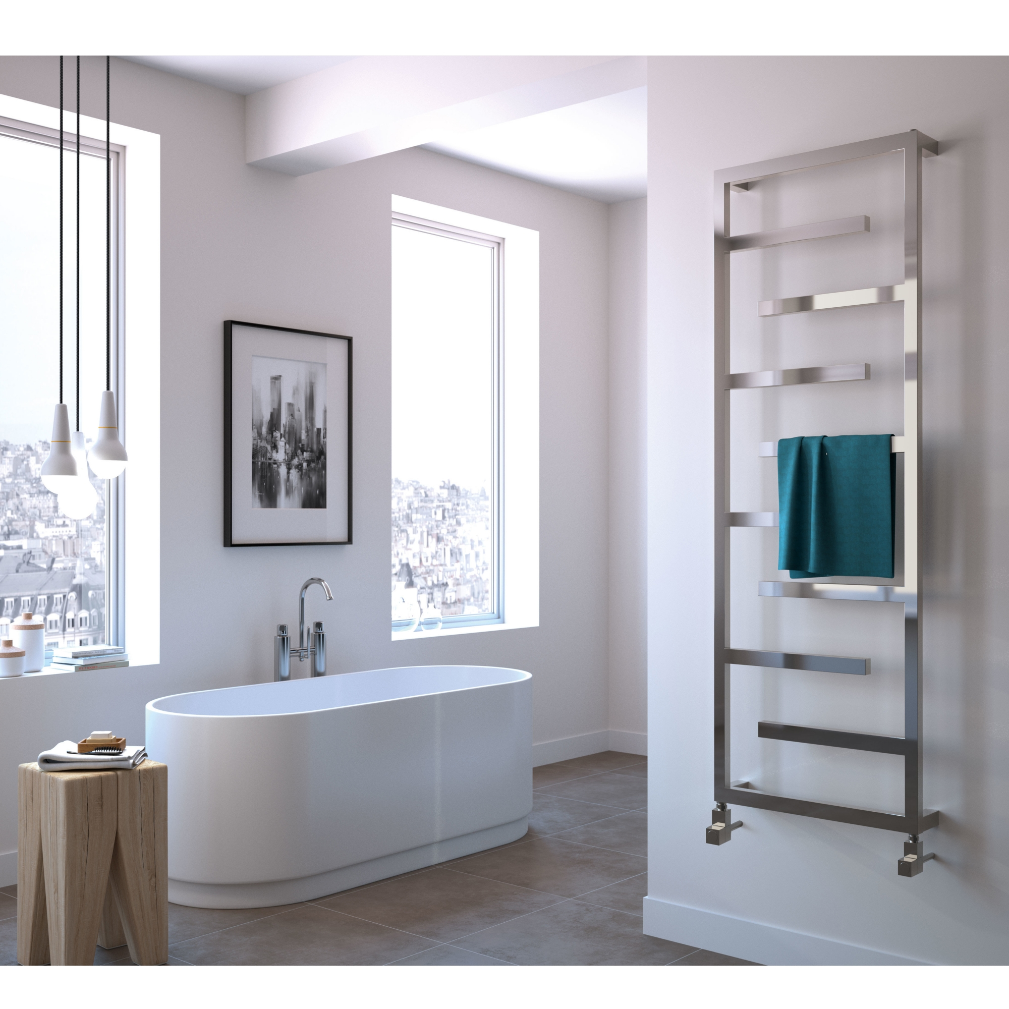 Radox Aztec Designer Heated Towel Rail 915mm H x 500mm W Stainless Steel