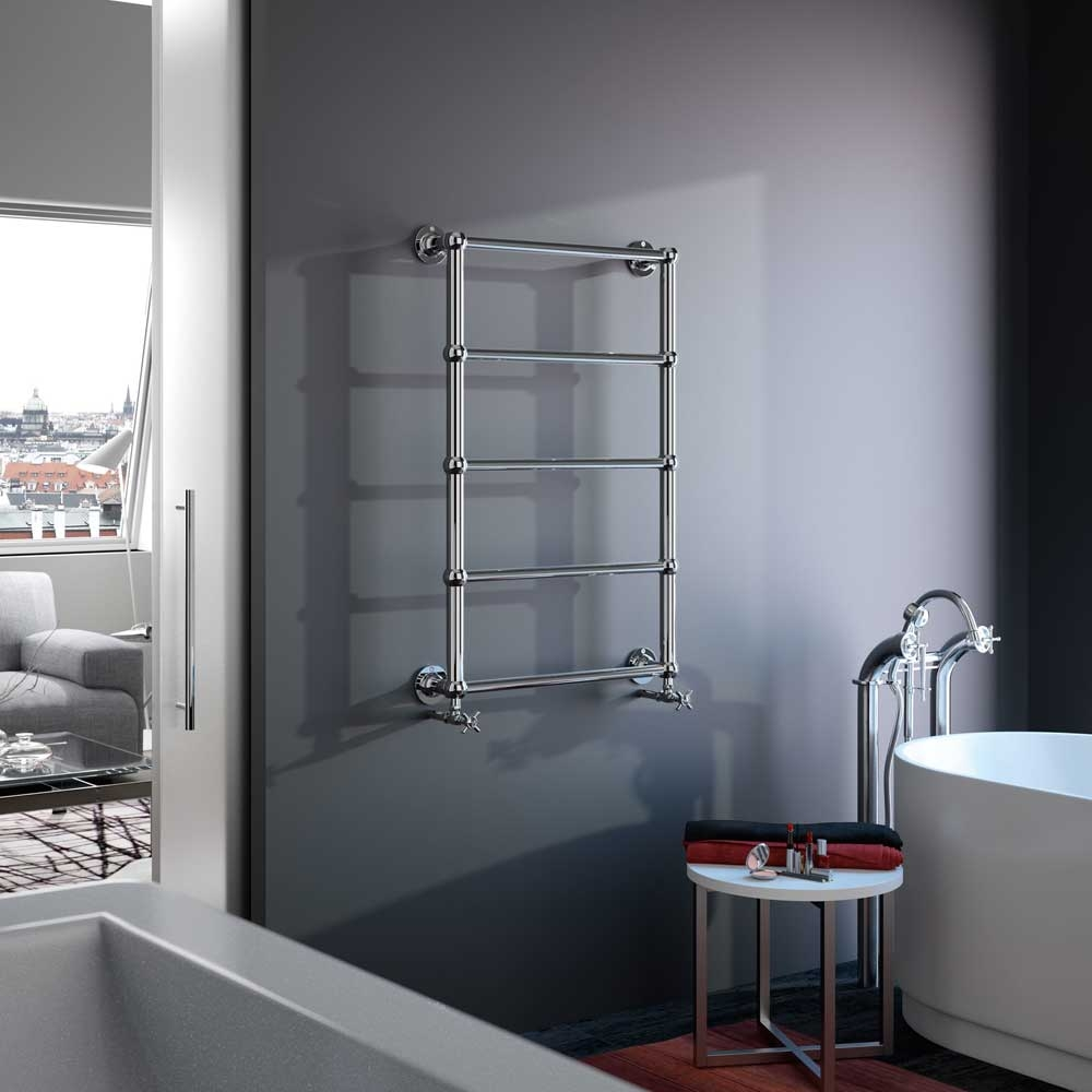 Radox Edwardian Traditional Heated Towel Rail 1000mm H x 700mm W Chrome
