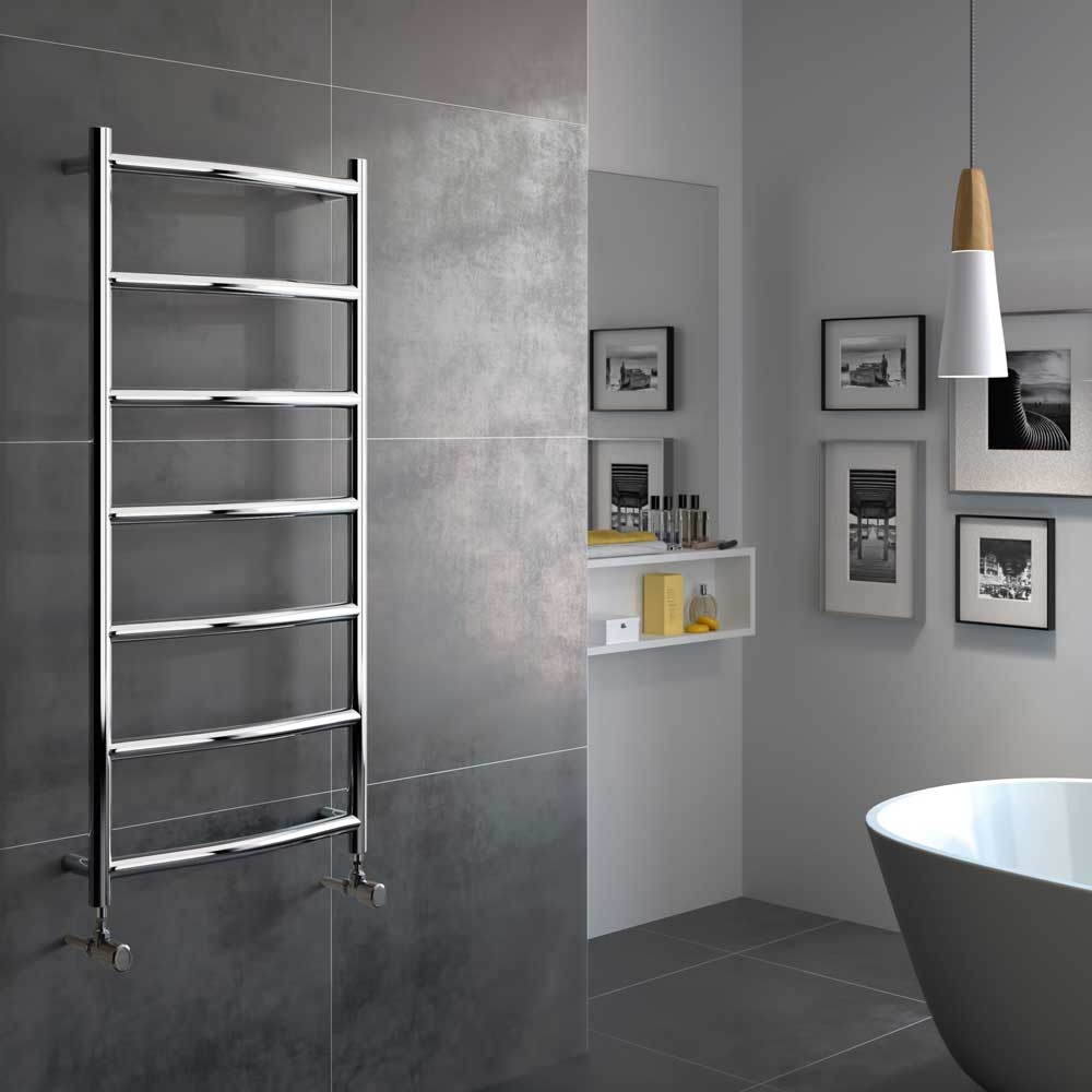 Radox Lacuna Designer Heated Towel Rail 1150mm H x 500mm W - Stainless Steel
