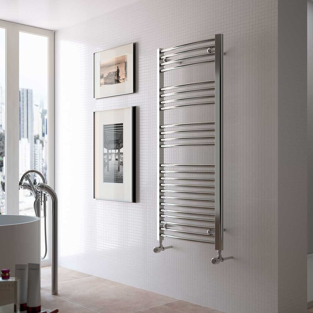 Radox Premier XL Curved Heated Towel Rail 1200mm H x 600mm W - Stainless Steel