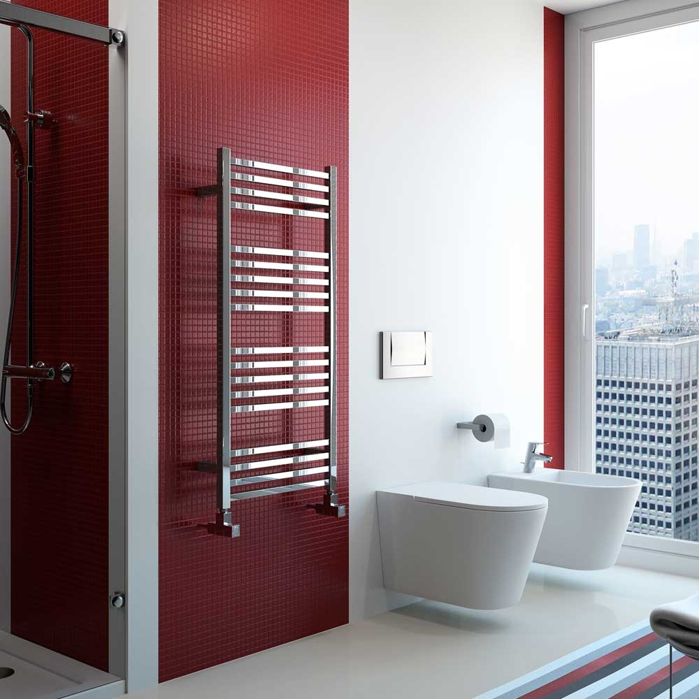 Radox Quebis Designer Heated Towel Rail 700mm H x 600mm W Chrome