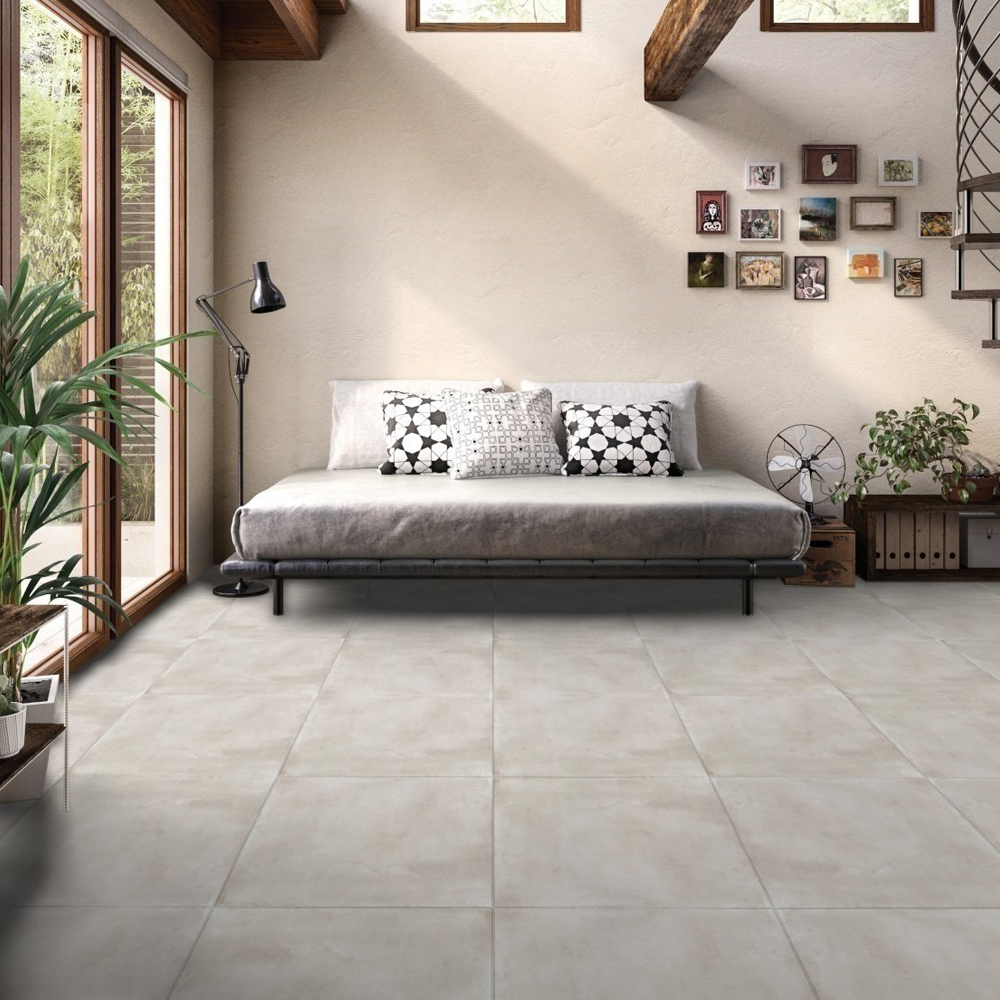 RAK Basic Concrete Porcelain Tile - 600mm H x 600mm W - Grey (Box of 4)-0
